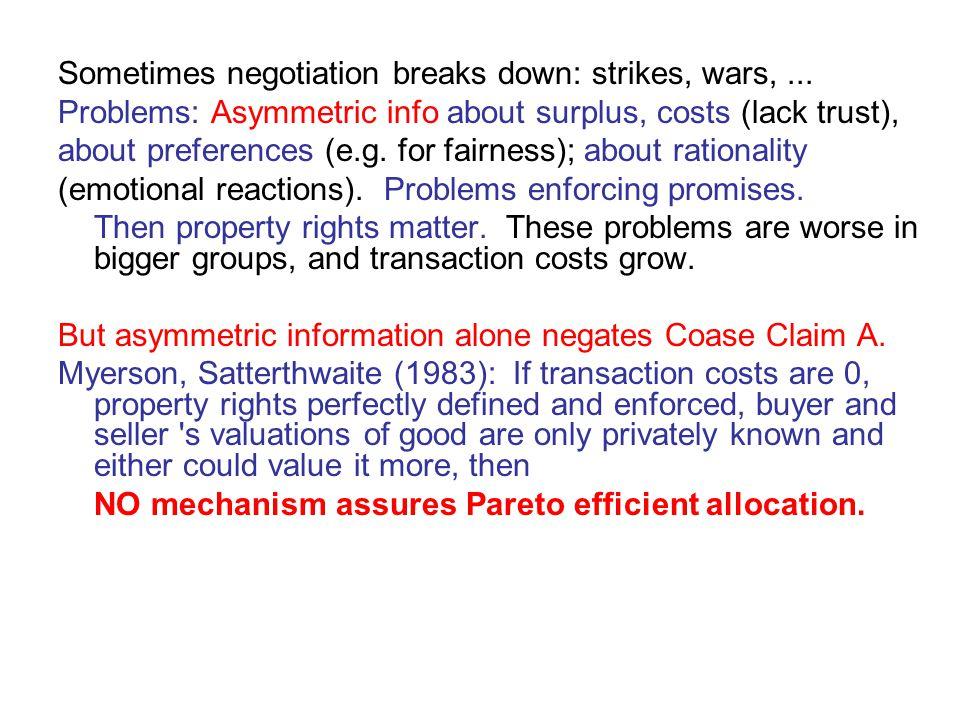 Sometimes negotiation breaks down: strikes, wars,...