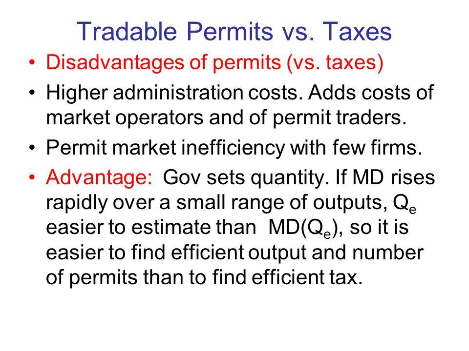 Tradable Permits vs. Taxes Disadvantages of permits (vs.