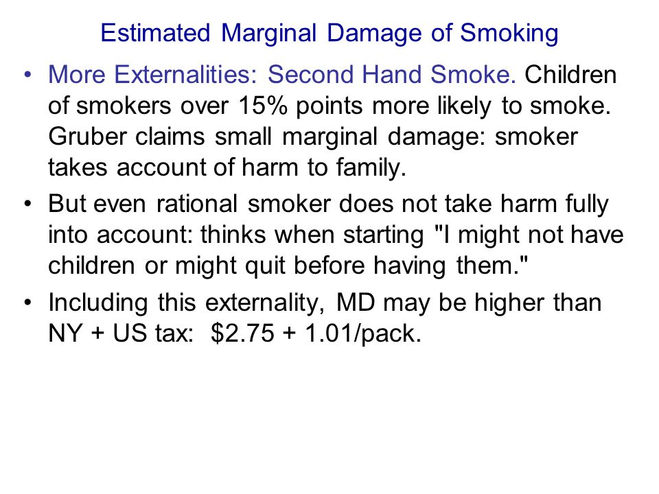 Estimated Marginal Damage of Smoking More Externalities: Second Hand Smoke.