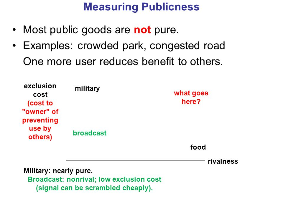 Measuring Publicness Most public goods are not pure.