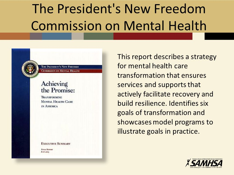 The President s New Freedom Commission on Mental Health This report describes a strategy for mental health care transformation that ensures services and supports that actively facilitate recovery and build resilience.