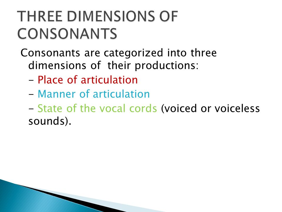  Place of articulation refers to which speech organs are used to articulate a consonant.