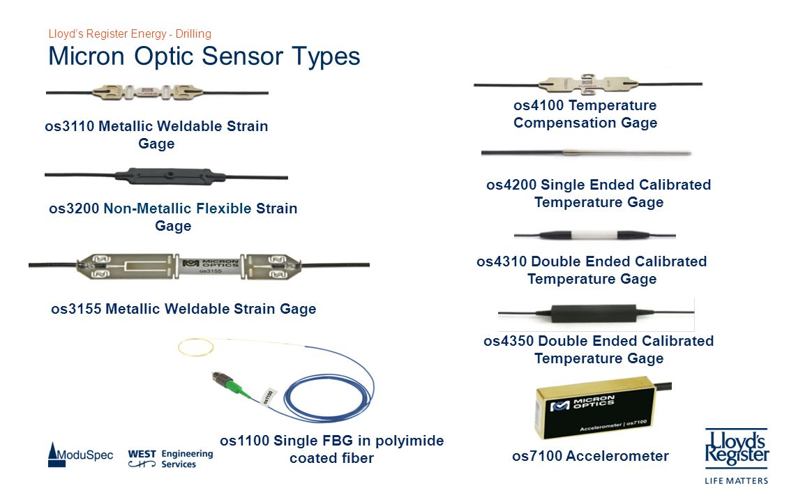 Lloyd's Register Energy - Drilling Micron Optic Sensor Types os3110 Metallic Weldable Strain Gage os3200 Non-Metallic Flexible Strain Gage os3155 Metallic Weldable Strain Gage os1100 Single FBG in polyimide coated fiber os4100 Temperature Compensation Gage os4200 Single Ended Calibrated Temperature Gage os4310 Double Ended Calibrated Temperature Gage os4350 Double Ended Calibrated Temperature Gage os7100 Accelerometer
