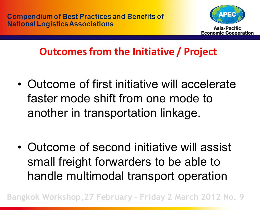 Compendium of Best Practices and Benefits of National Logistics Associations Outcomes from the Initiative / Project Bangkok Workshop,27 February – Friday 2 March 2012 No.