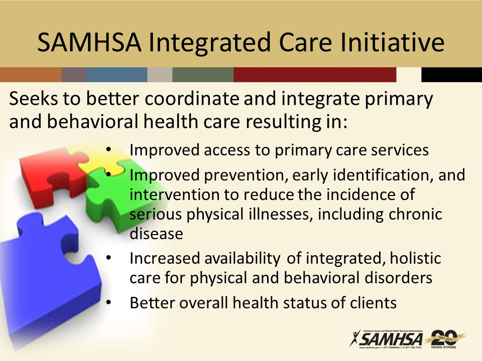 SAMHSA Integrated Care Initiative Seeks to better coordinate and integrate primary and behavioral health care resulting in: Improved access to primary care services Improved prevention, early identification, and intervention to reduce the incidence of serious physical illnesses, including chronic disease Increased availability of integrated, holistic care for physical and behavioral disorders Better overall health status of clients