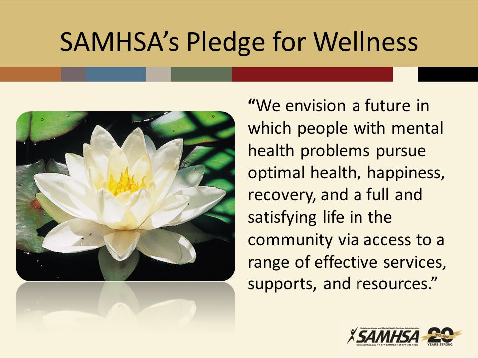 SAMHSA's Pledge for Wellness We envision a future in which people with mental health problems pursue optimal health, happiness, recovery, and a full and satisfying life in the community via access to a range of effective services, supports, and resources.