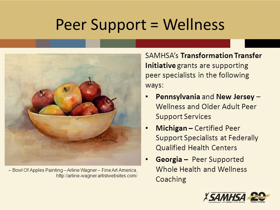 Peer Support = Wellness SAMHSA's Transformation Transfer Initiative grants are supporting peer specialists in the following ways: Pennsylvania and New Jersey – Wellness and Older Adult Peer Support Services Michigan – Certified Peer Support Specialists at Federally Qualified Health Centers Georgia – Peer Supported Whole Health and Wellness Coaching – Bowl Of Apples Painting – Arline Wagner – Fine Art America, http://arline-wagner.artistwebsites.com/