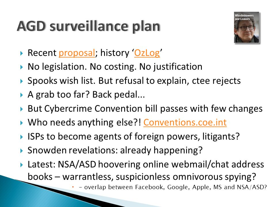  Recent proposal; history 'OzLog'proposalOzLog  No legislation.