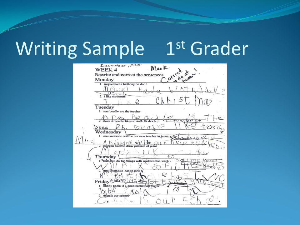 Writing Sample 1 st Grader