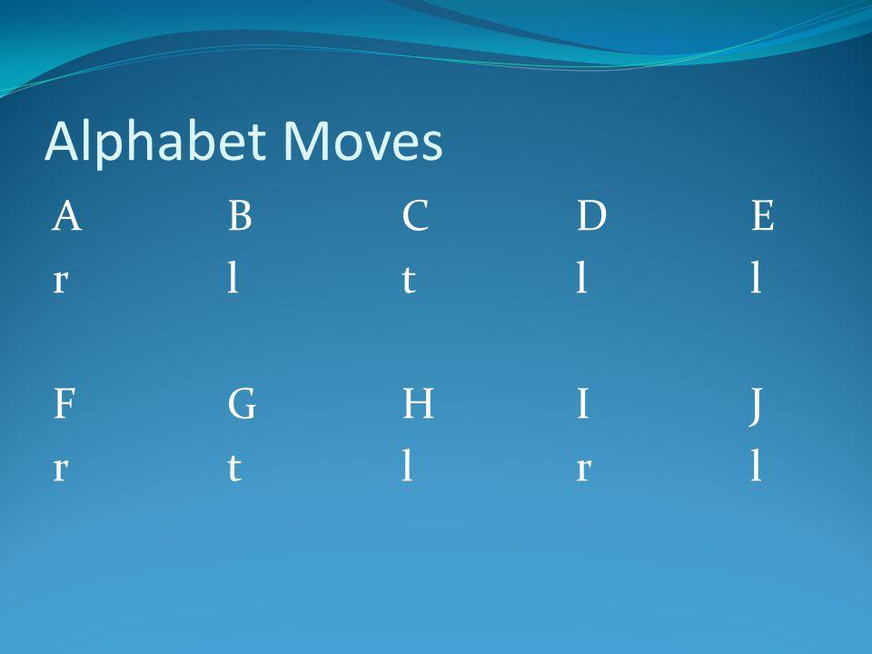 Alphabet Moves ABCDErltllFGHIJrtlrlABCDErltllFGHIJrtlrl