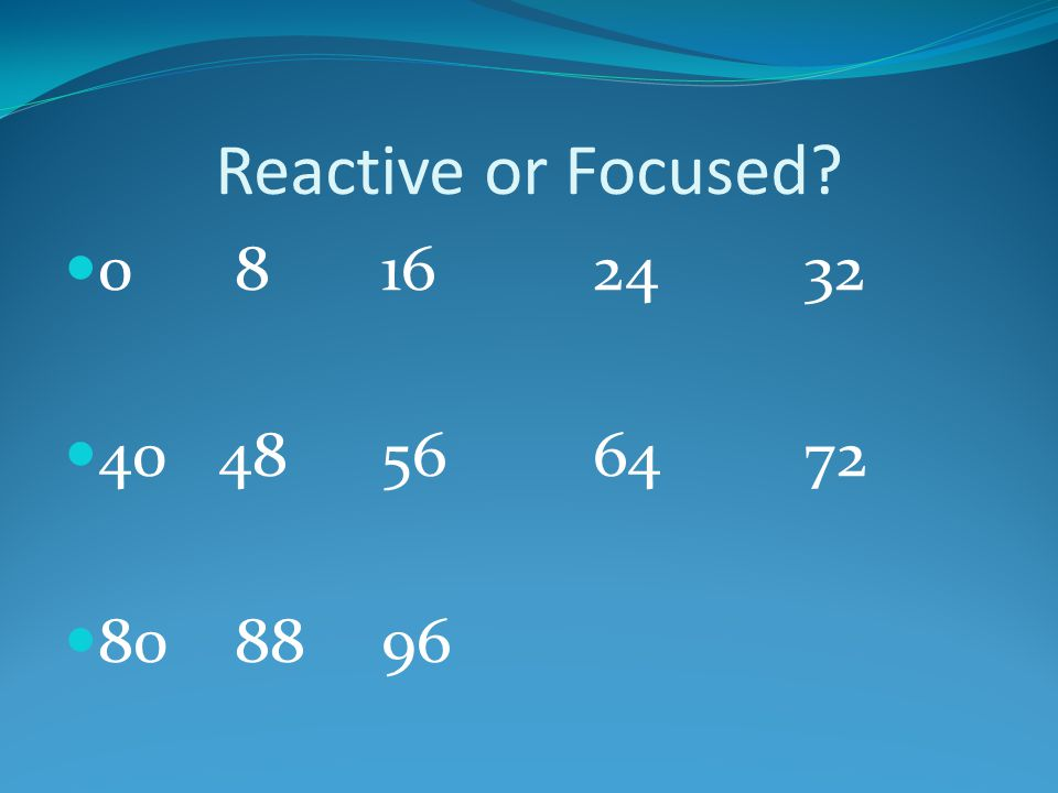 Reactive or Focused? 0 8162432 40 48566472 80 8896