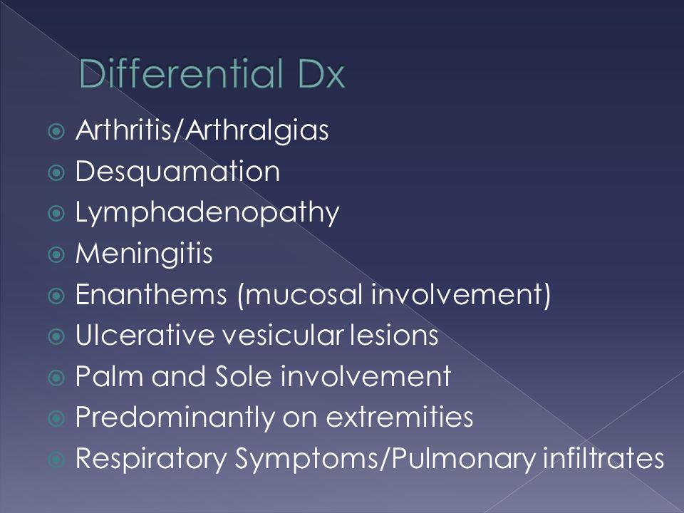  Arthritis/Arthralgias  Desquamation  Lymphadenopathy  Meningitis  Enanthems (mucosal involvement)  Ulcerative vesicular lesions  Palm and Sole