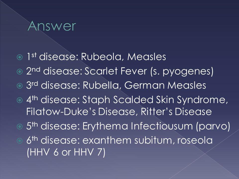 1 st disease: Rubeola, Measles  2 nd disease: Scarlet Fever (s. pyogenes)  3 rd disease: Rubella, German Measles  4 th disease: Staph Scalded Ski