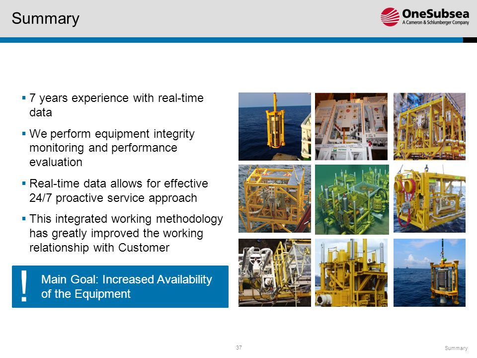 37 Main Goal: Increased Availability of the Equipment Summary  7 years experience with real-time data  We perform equipment integrity monitoring and performance evaluation  Real-time data allows for effective 24/7 proactive service approach  This integrated working methodology has greatly improved the working relationship with Customer !