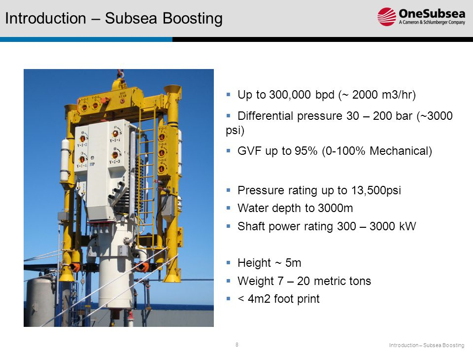 8  Up to 300,000 bpd (~ 2000 m3/hr)  Differential pressure 30 – 200 bar (~3000 psi)  GVF up to 95% (0-100% Mechanical)  Pressure rating up to 13,500psi  Water depth to 3000m  Shaft power rating 300 – 3000 kW  Height ~ 5m  Weight 7 – 20 metric tons  < 4m2 foot print Introduction – Subsea Boosting