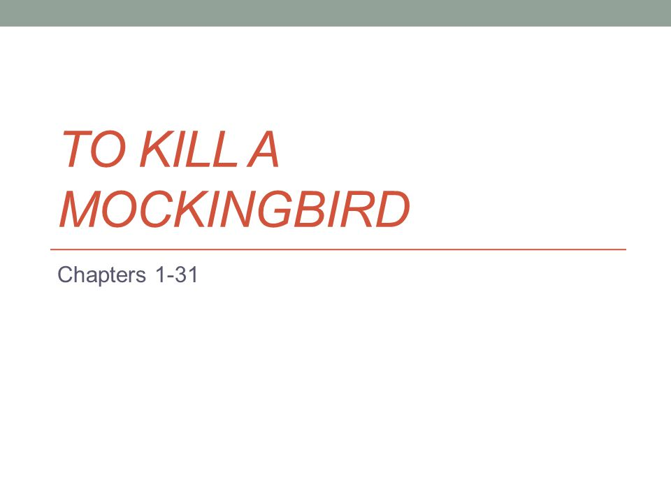 TO KILL A MOCKINGBIRD Chapters 1-31