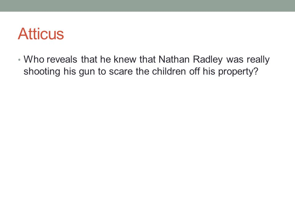 Atticus Who reveals that he knew that Nathan Radley was really shooting his gun to scare the children off his property?