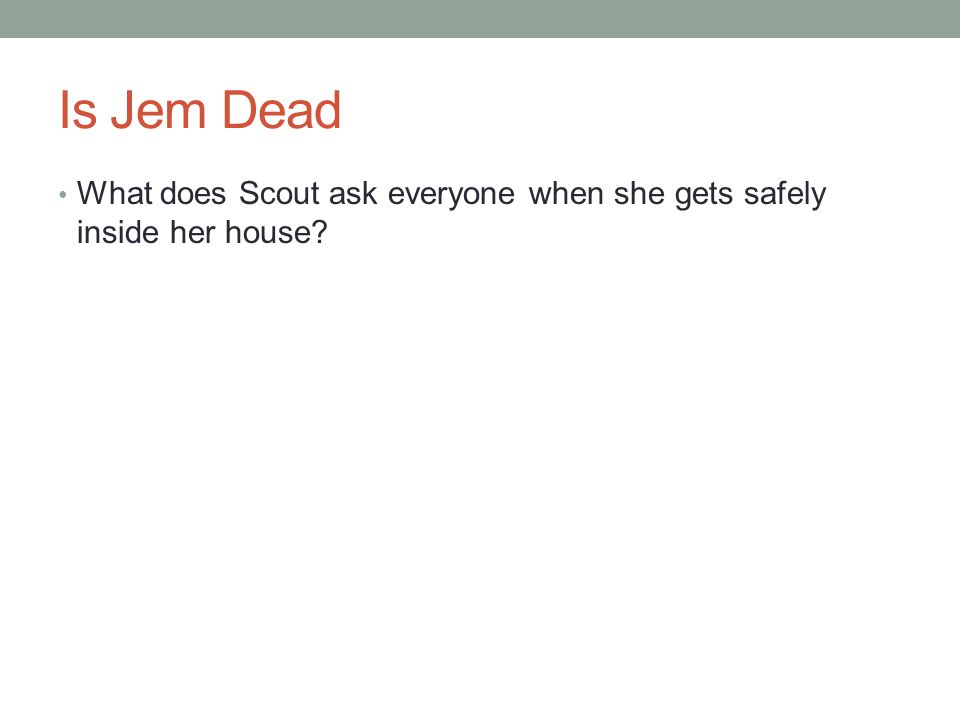 Is Jem Dead What does Scout ask everyone when she gets safely inside her house?