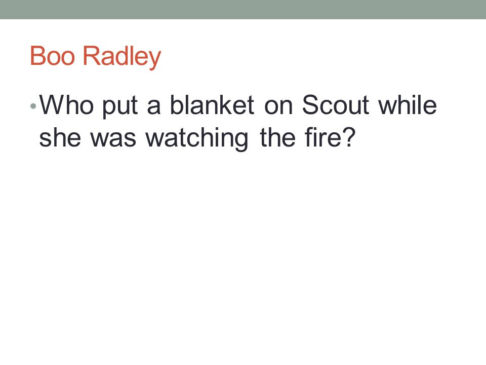 Boo Radley Who put a blanket on Scout while she was watching the fire?