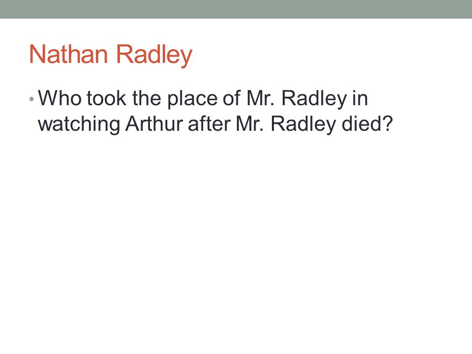 Nathan Radley Who took the place of Mr. Radley in watching Arthur after Mr. Radley died?