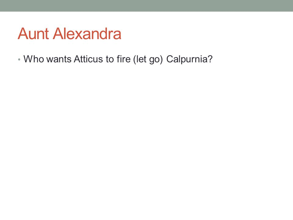 Aunt Alexandra Who wants Atticus to fire (let go) Calpurnia?