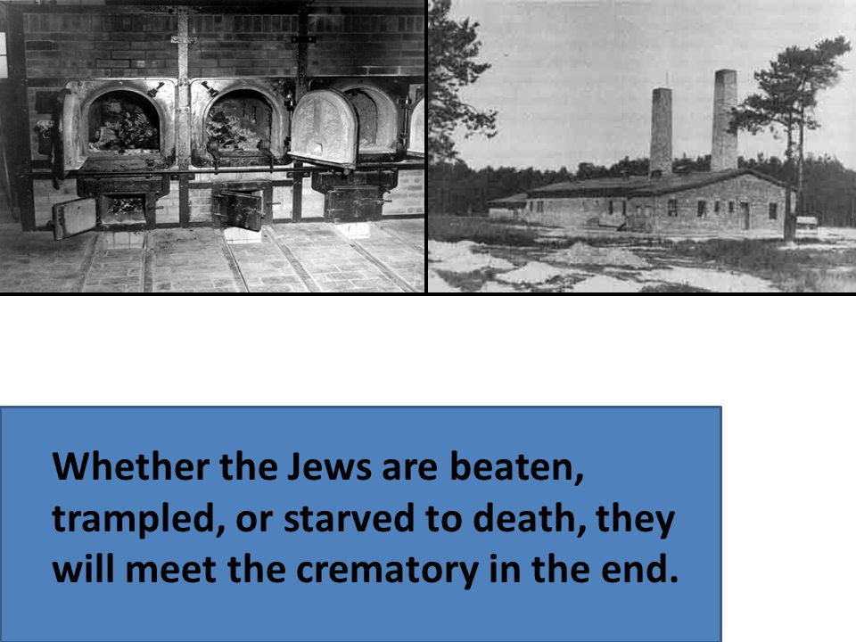 Whether the Jews are beaten, trampled, or starved to death, they will meet the crematory in the end.