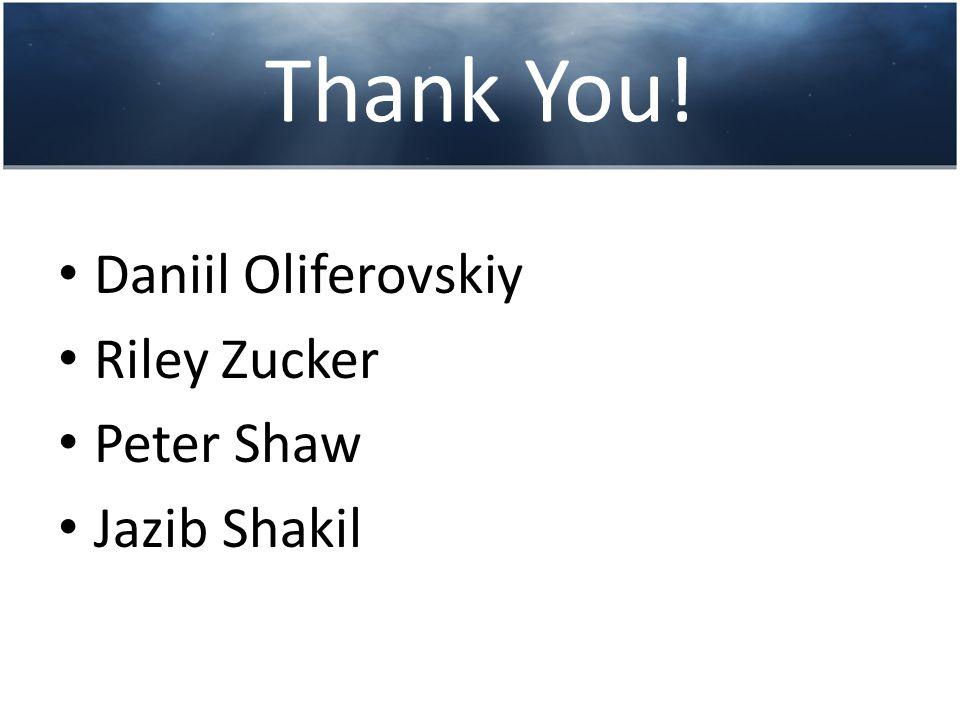 Thank You! Daniil Oliferovskiy Riley Zucker Peter Shaw Jazib Shakil