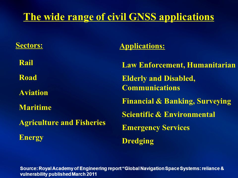 The wide range of civil GNSS applications Rail Road Aviation Maritime Agriculture and Fisheries Energy Law Enforcement, Humanitarian Elderly and Disabled, Communications Financial & Banking, Surveying Scientific & Environmental Emergency Services Dredging Sectors: Applications: Source: Royal Academy of Engineering report Global Navigation Space Systems: reliance & vulnerability published March 2011