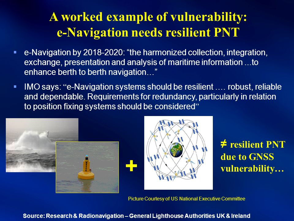 A worked example of vulnerability: e-Navigation needs resilient PNT ≠ resilient PNT due to GNSS vulnerability… +  e-Navigation by 2018-2020: the harmonized collection, integration, exchange, presentation and analysis of maritime information...to enhance berth to berth navigation…  IMO says: e-Navigation systems should be resilient ….