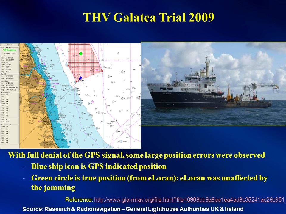 THV Galatea Trial 2009 With full denial of the GPS signal, some large position errors were observed -Blue ship icon is GPS indicated position -Green circle is true position (from eLoran): eLoran was unaffected by the jamming Reference: http://www.gla-rrnav.org/file.html file=0968bb9a8ee1ea4ad8c35241ac29c951http://www.gla-rrnav.org/file.html file=0968bb9a8ee1ea4ad8c35241ac29c951 Source: Research & Radionavigation – General Lighthouse Authorities UK & Ireland