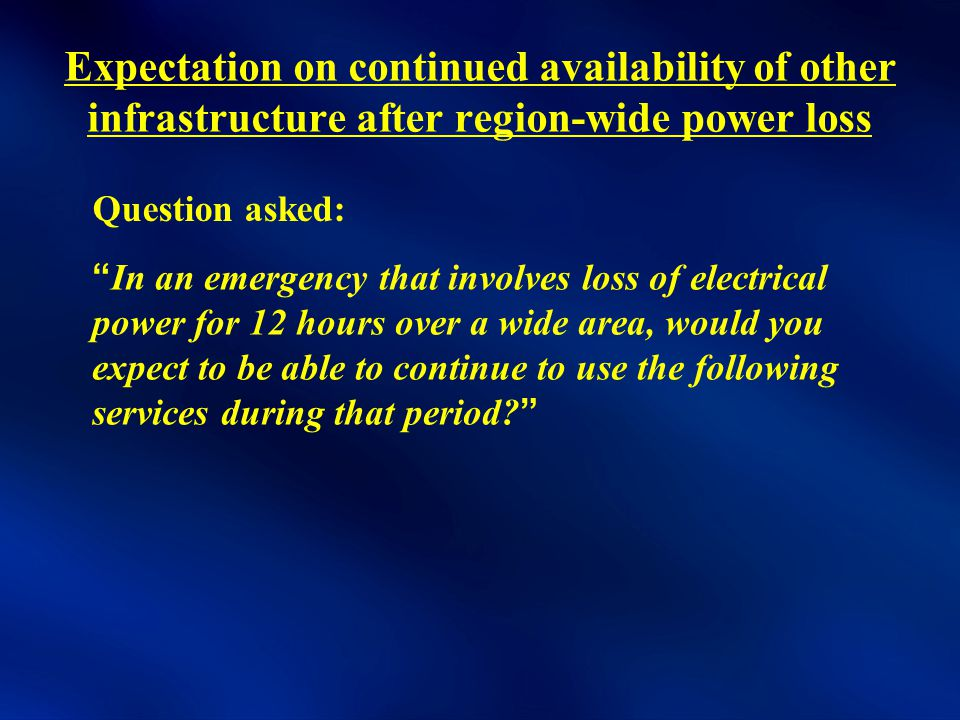Expectation on continued availability of other infrastructure after region-wide power loss In an emergency that involves loss of electrical power for 12 hours over a wide area, would you expect to be able to continue to use the following services during that period Question asked: