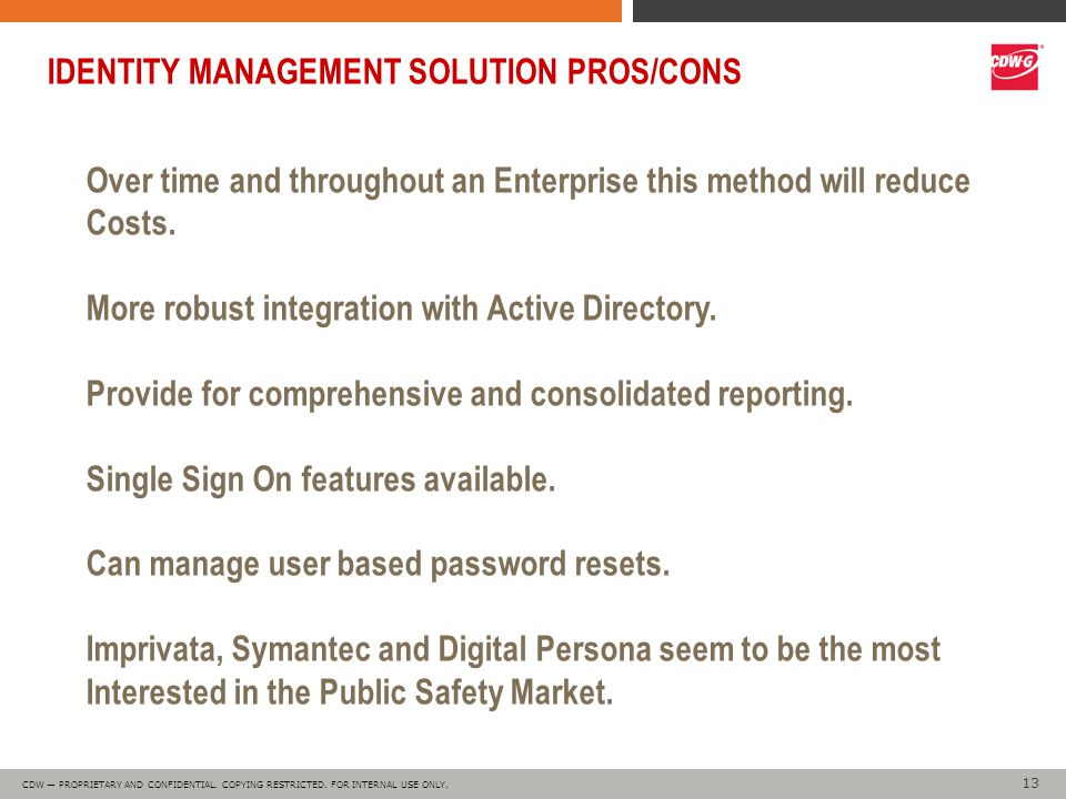 13 CDW — PROPRIETARY AND CONFIDENTIAL. COPYING RESTRICTED.
