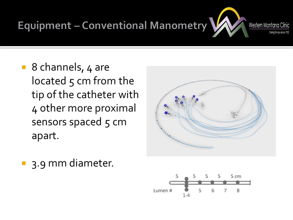  8 channels, 4 are located 5 cm from the tip of the catheter with 4 other more proximal sensors spaced 5 cm apart.  3.9 mm diameter.