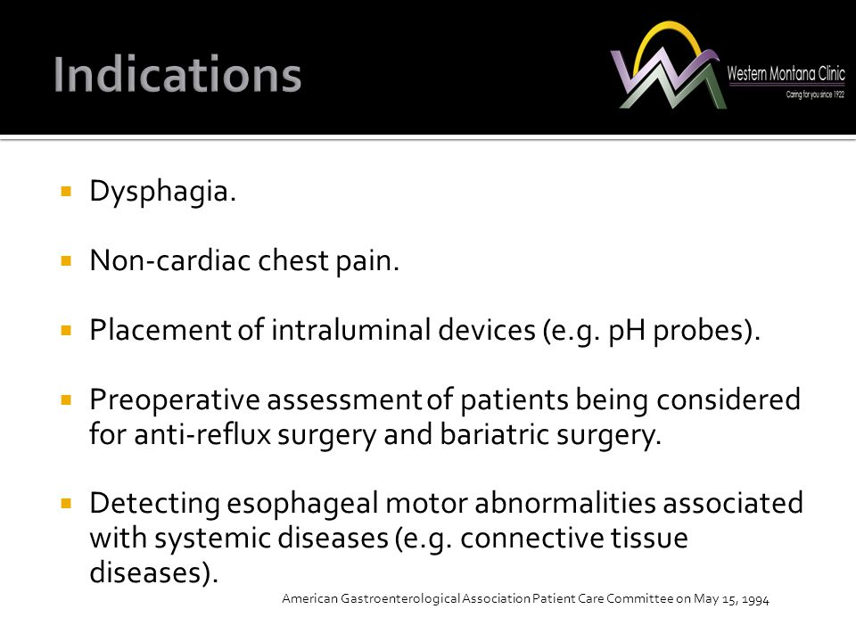  Dysphagia.  Non-cardiac chest pain.  Placement of intraluminal devices (e.g. pH probes).  Preoperative assessment of patients being considered fo