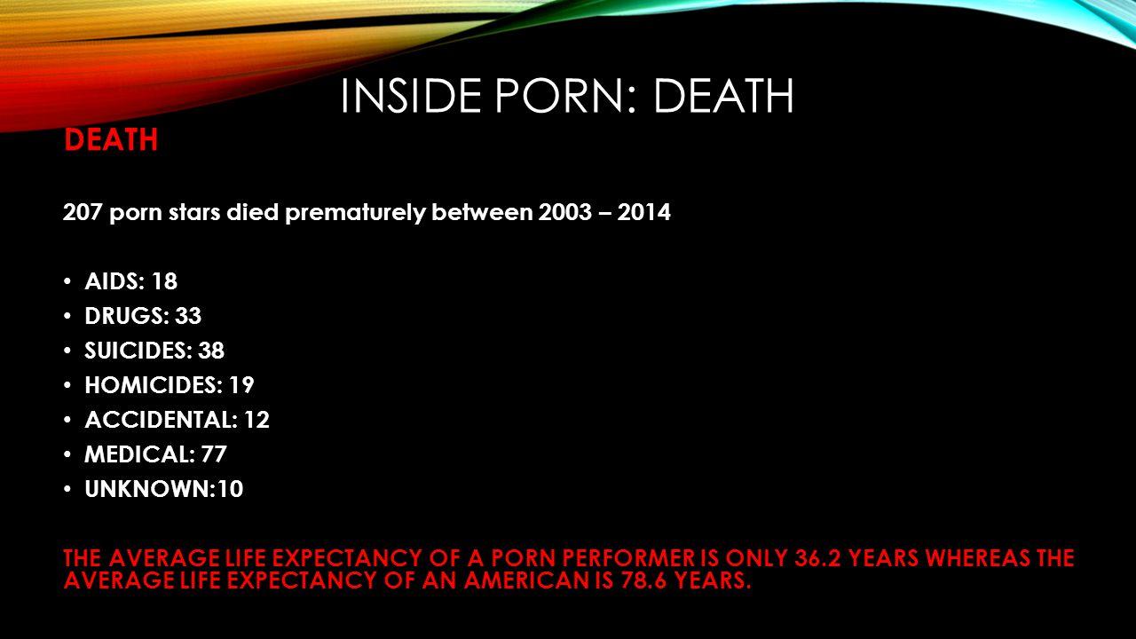 INSIDE PORN: DEATH DEATH 207 porn stars died prematurely between 2003 – 2014 AIDS: 18 DRUGS: 33 SUICIDES: 38 HOMICIDES: 19 ACCIDENTAL: 12 MEDICAL: 77
