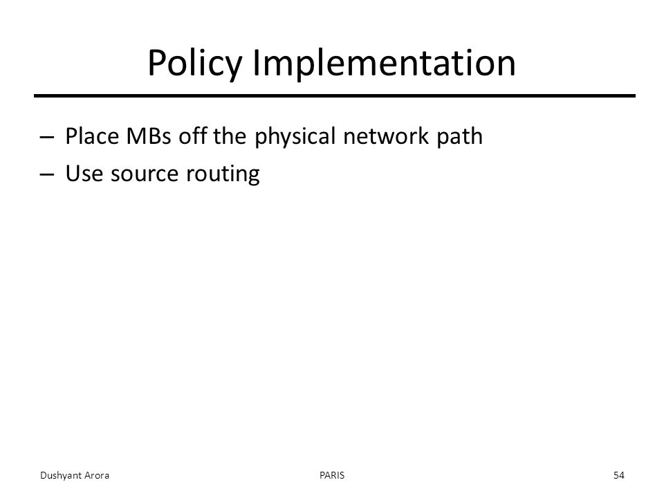Policy Implementation – Place MBs off the physical network path – Use source routing Dushyant AroraPARIS54