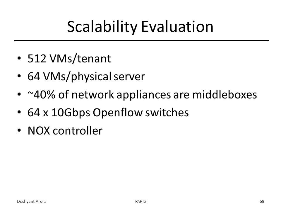 Scalability Evaluation 512 VMs/tenant 64 VMs/physical server ~40% of network appliances are middleboxes 64 x 10Gbps Openflow switches NOX controller Dushyant AroraPARIS69
