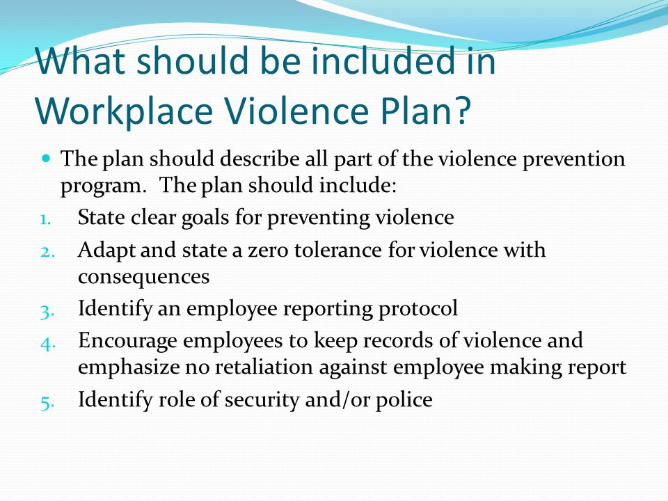 What should be included in Workplace Violence Plan.