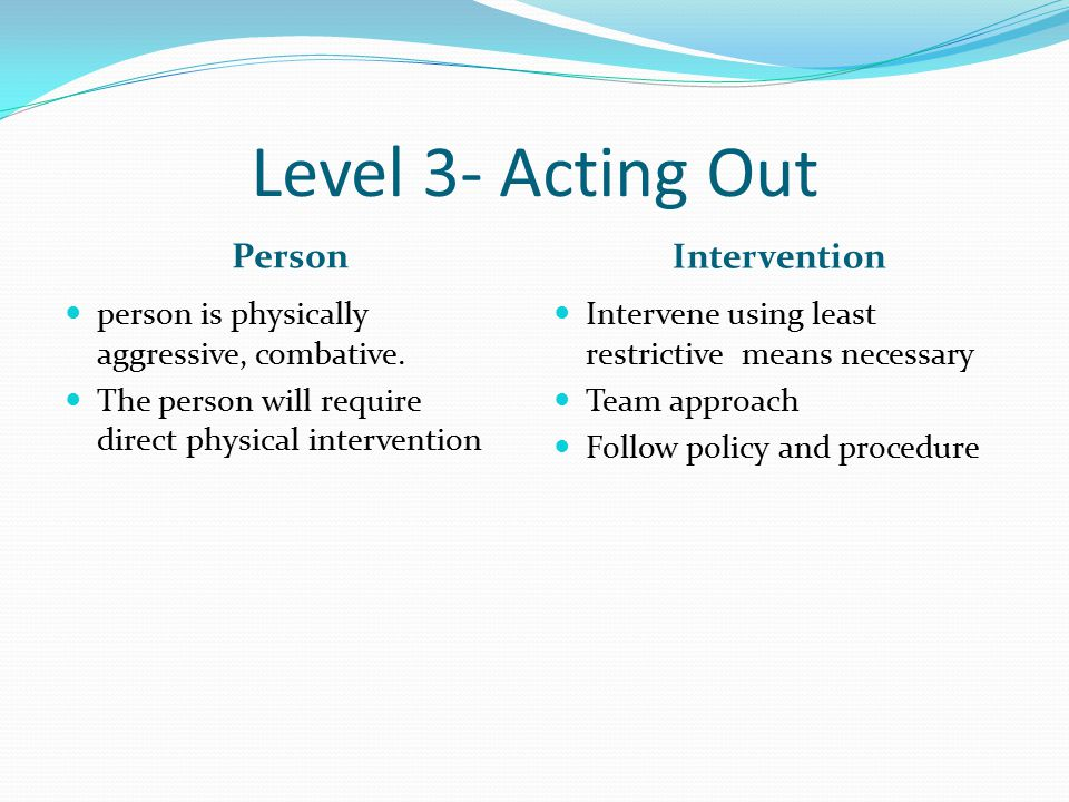 Level 3- Acting Out Person Intervention person is physically aggressive, combative.