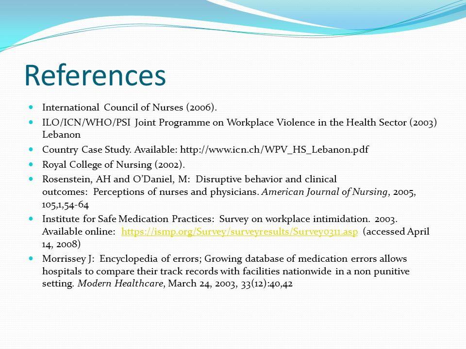 References International Council of Nurses (2006).