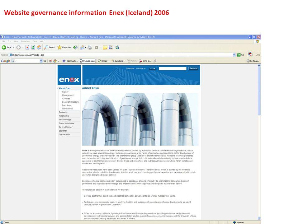 Website governance information Enex (Iceland) 2006
