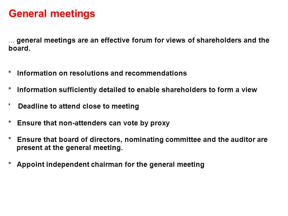 General meetings...