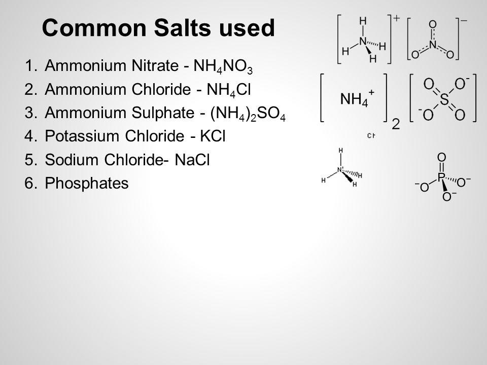 Common Salts used 1.Ammonium Nitrate - NH 4 NO 3 2.Ammonium Chloride - NH 4 Cl 3.Ammonium Sulphate - (NH 4 ) 2 SO 4 4.Potassium Chloride - KCl 5.Sodium Chloride- NaCl 6.Phosphates