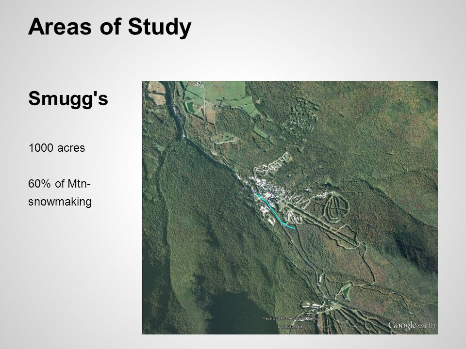 Areas of Study Smugg s 1000 acres 60% of Mtn- snowmaking