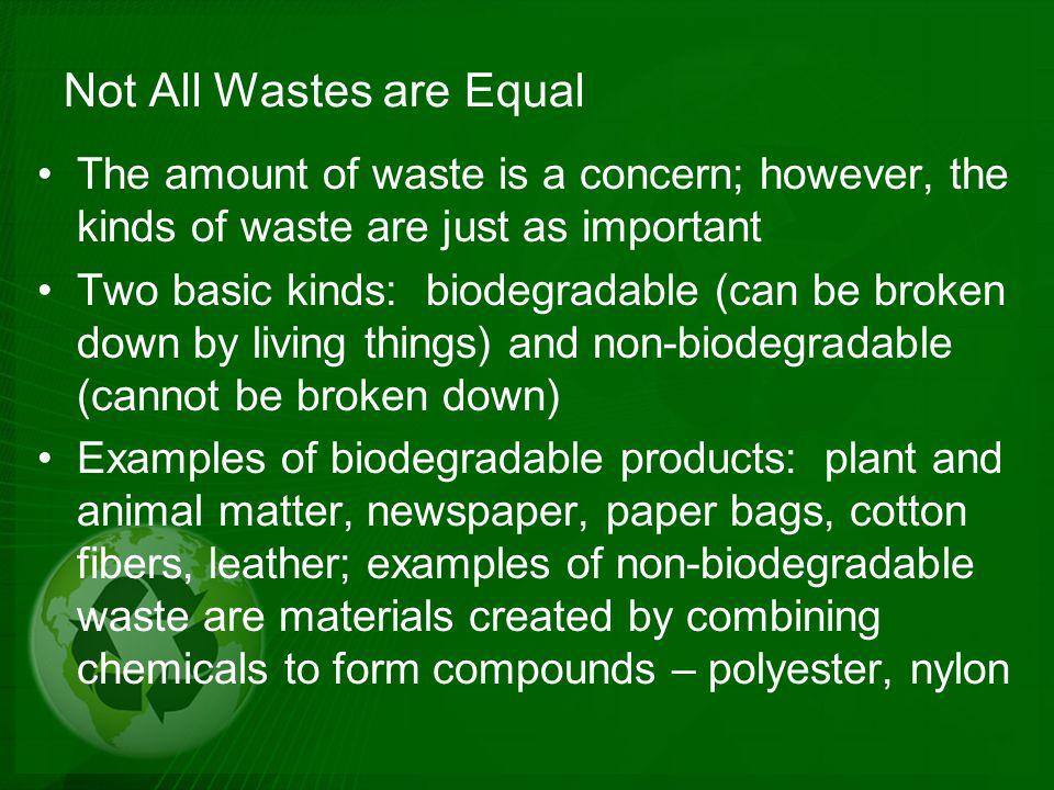 Plastic Problems Plastics illustrate how non-biodegradable materials can cause problems.