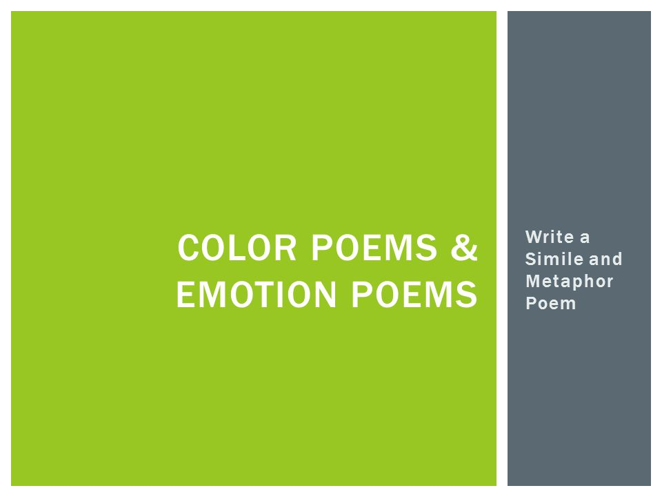 Write a Simile and Metaphor Poem COLOR POEMS & EMOTION POEMS