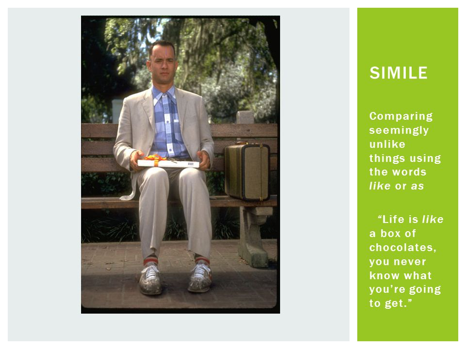 """Comparing seemingly unlike things using the words like or as """"Life is like a box of chocolates, you never know what you're going to get."""" SIMILE"""