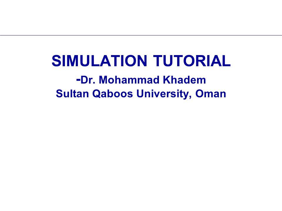 SIMULATION TUTORIAL - Dr. Mohammad Khadem Sultan Qaboos University, Oman