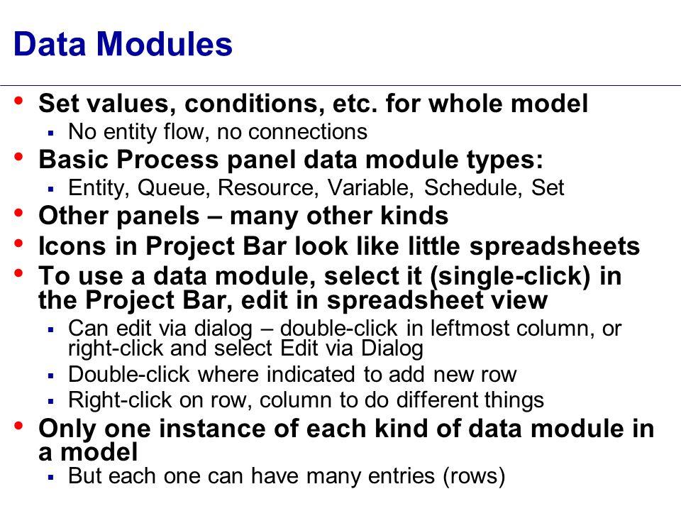Data Modules Set values, conditions, etc.
