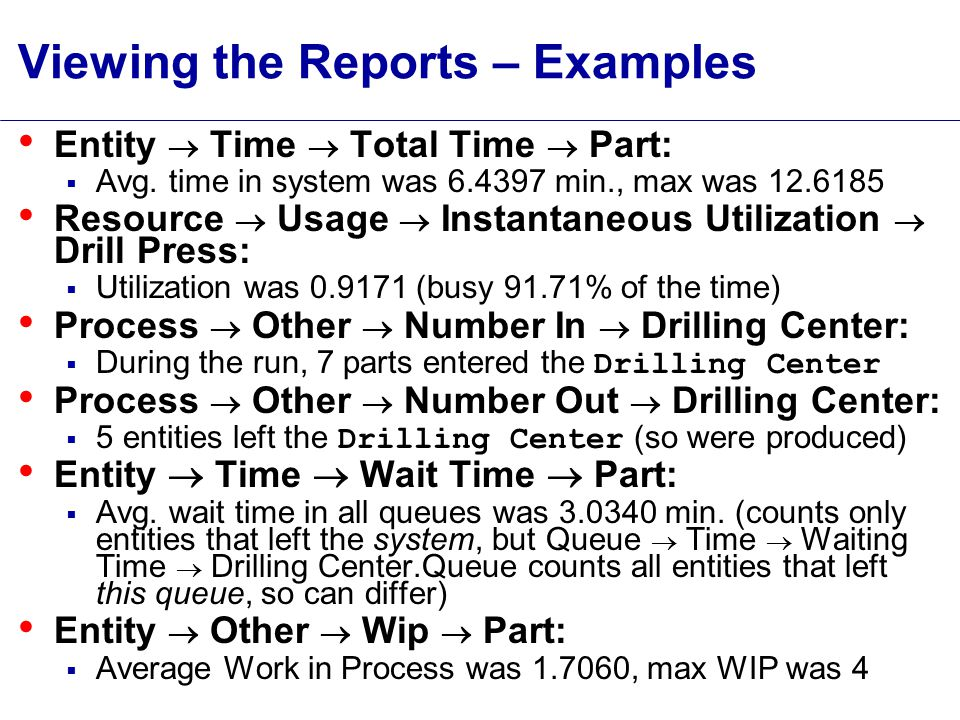 Viewing the Reports – Examples Entity  Time  Total Time  Part:  Avg.